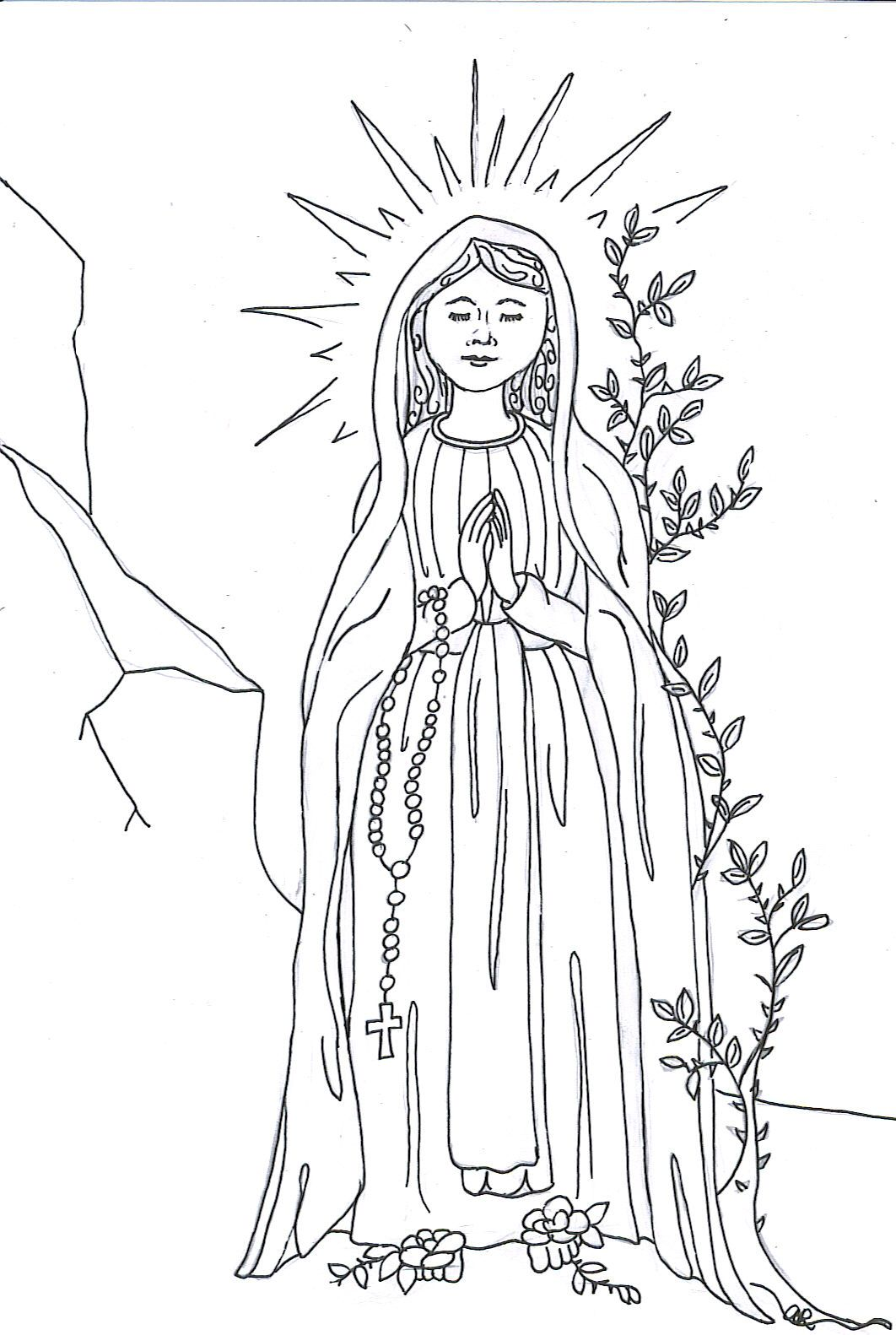 Our Lady of Lourdes Coloring Page | Immaculate Conception party ...