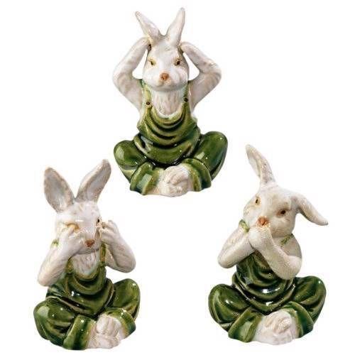 Rabbit Trio See No Evil Hear No Evil Speak No Evil Figurines