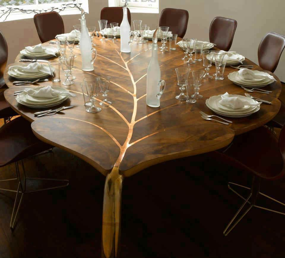 Solid Wood Furniture For Modern Interior Design And Decor In Trending Eco Style Leaf Shaped Dining Table Made Of Unique