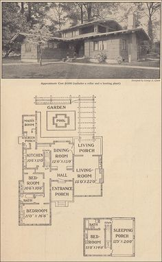 """1916 Airplane Bungalow - Ladies Home Journal - George A. Clark.  Notice the """"sleeping porch"""" on 2nd story....nice."""