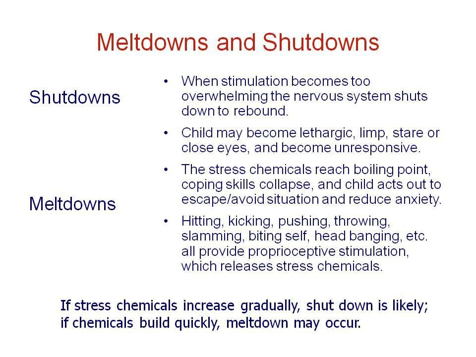 Meltdowns and Shutdowns - happens to us adults too.