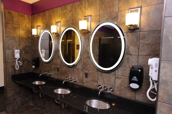 Cool Bathroom With Lighted Mirrors Amazing Bathrooms Planet Fitness Workout Home