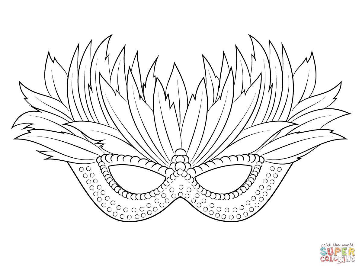 Venetian Mardi Gras Mask Coloring Page Supercoloring Com