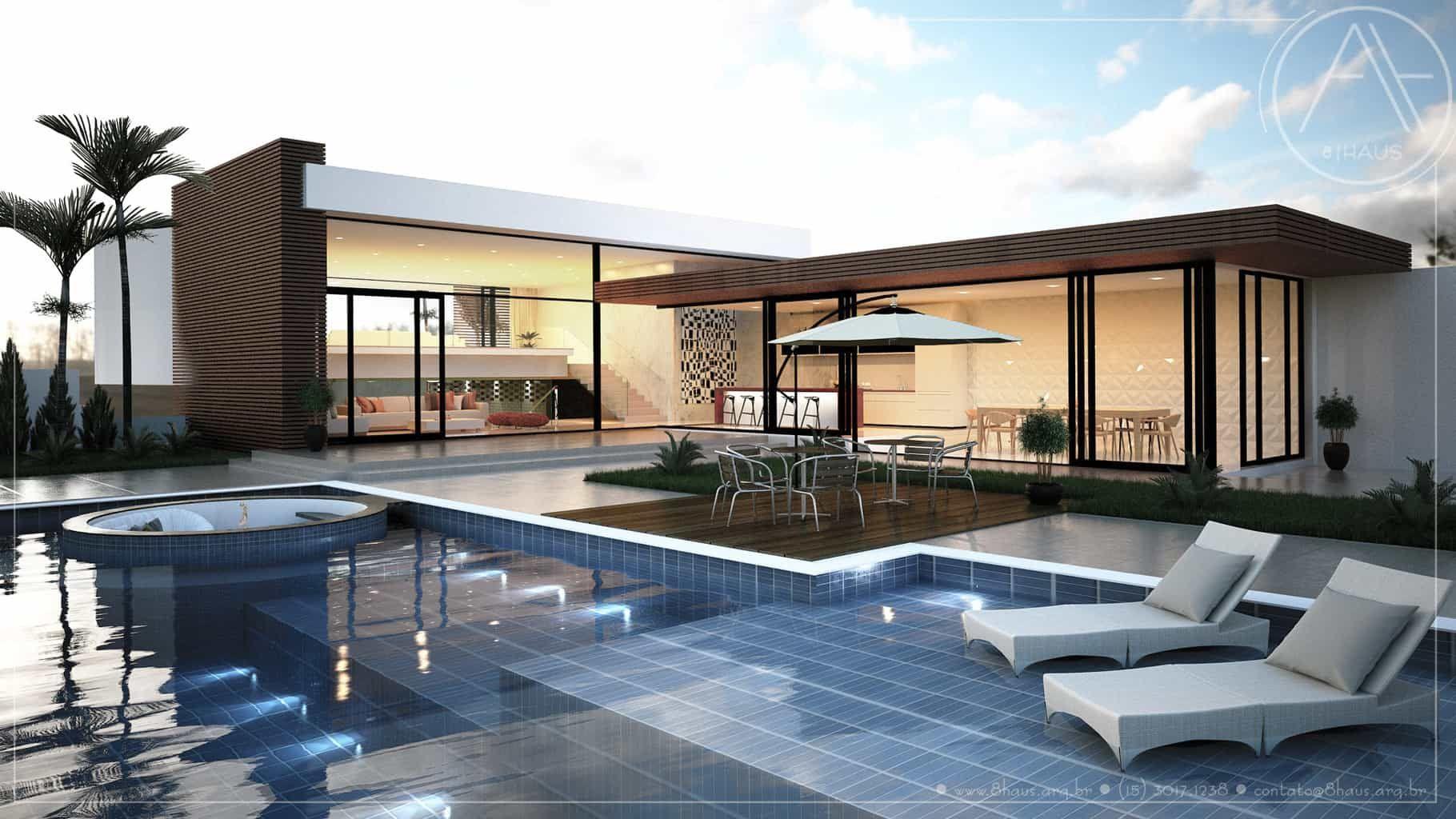 Pin by 8 haus arquitetura on projetos 8 haus arquitetura for Casas modernas con piscina interior