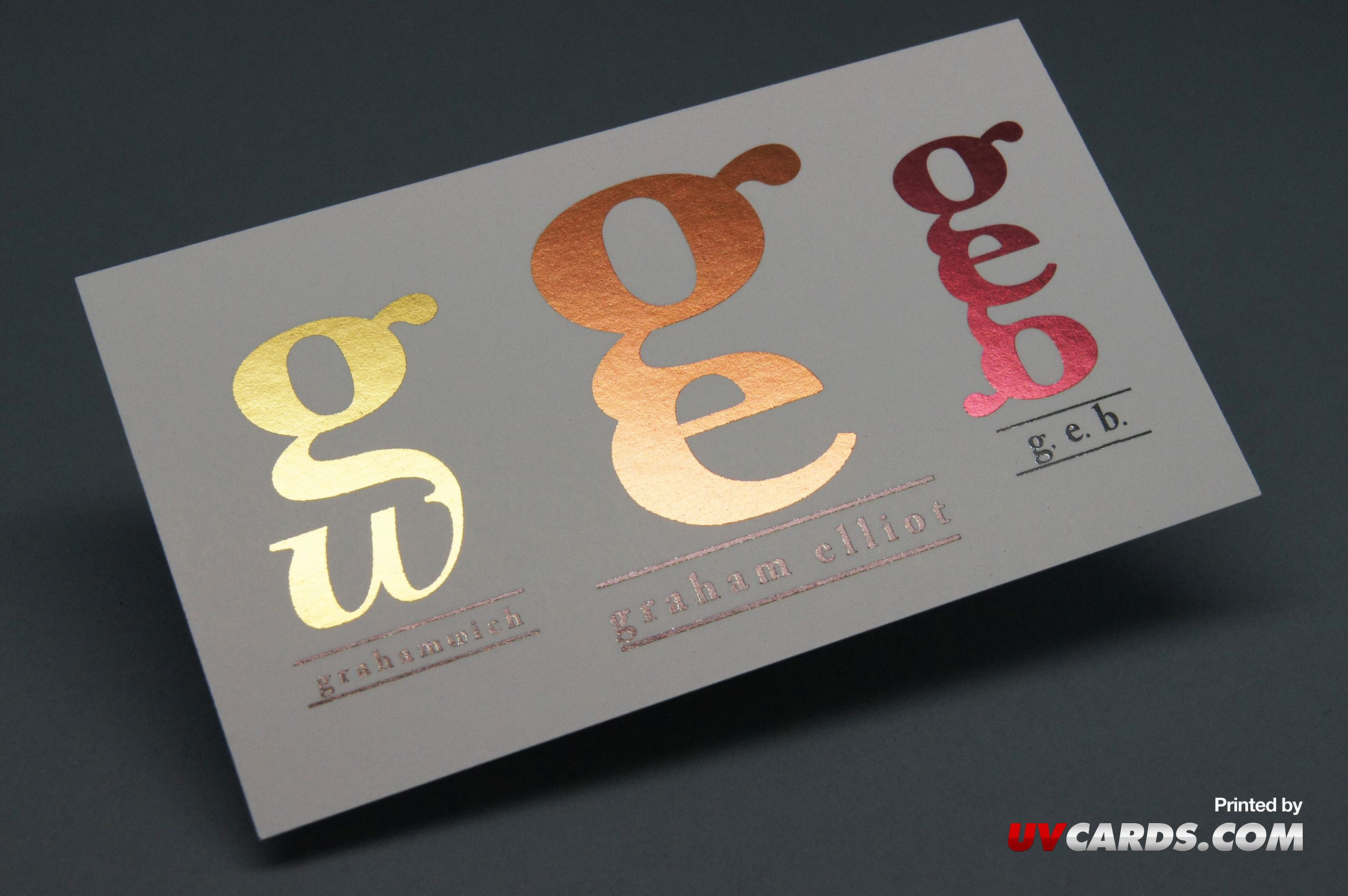 business cards with inline foil printed for graham elliot by uv