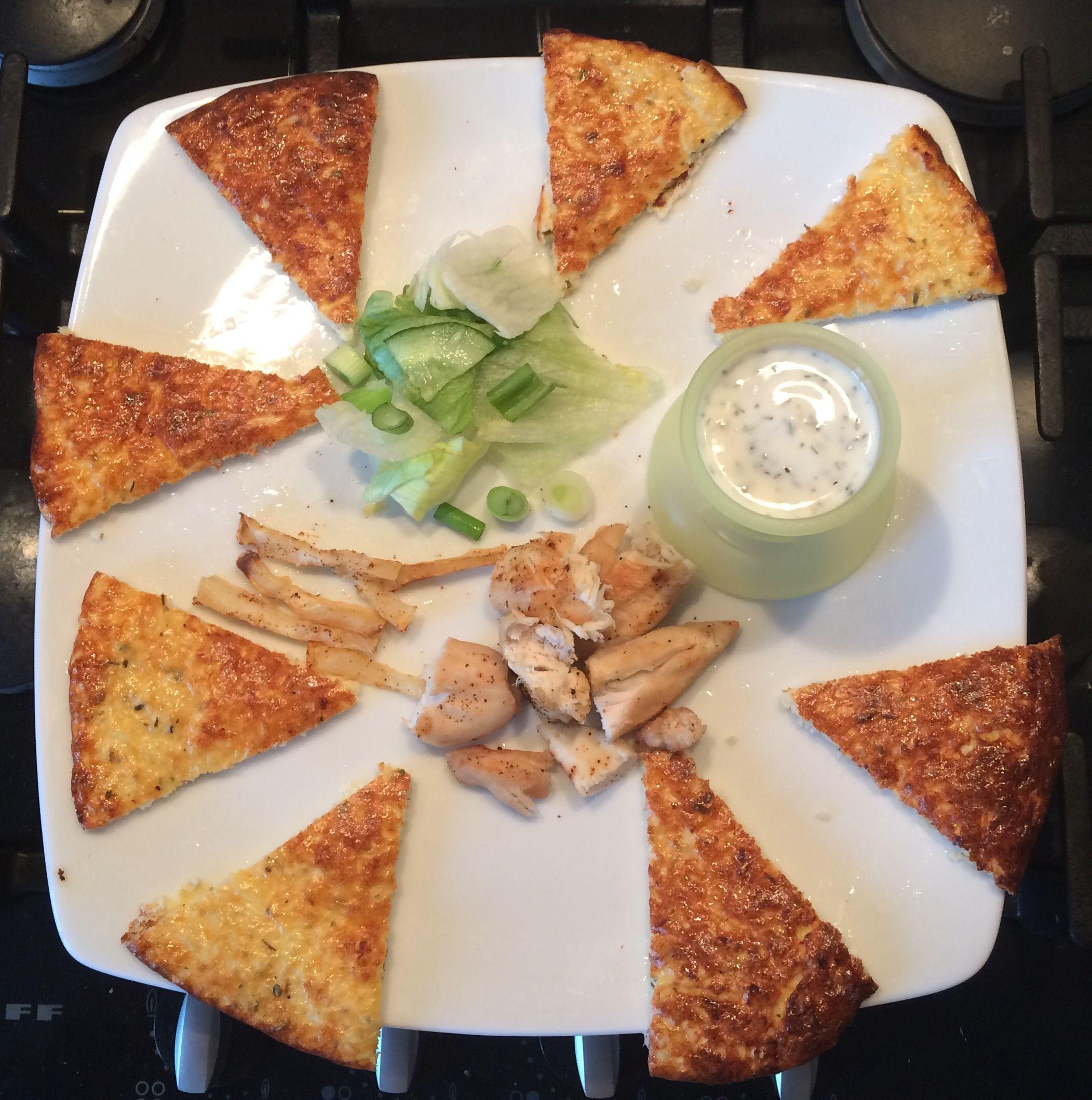 Mini Chicken And Chips With Caulibread Triangles Cauliflower Bread