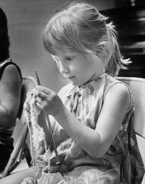 JUL 8 1974 JUL 11 1974 JUL 31 1974 'Knit one purl two' 5yearold Judy Degenhart must be thinking as she concentrates on her assignment Big knitting...