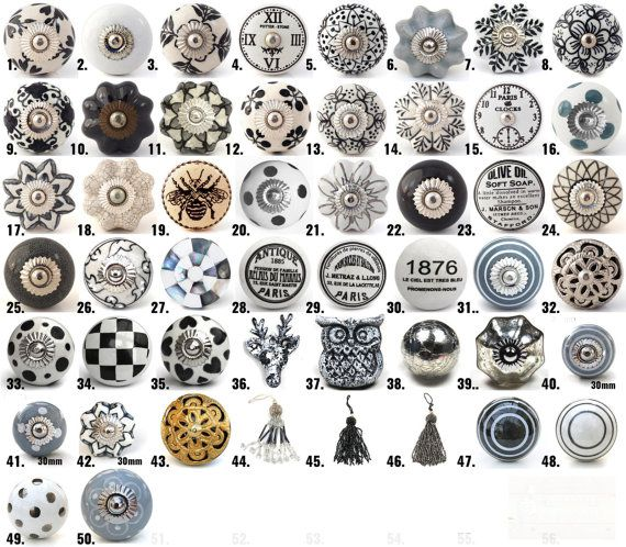 vintage ceramic knobs ornamental door knobs with various black white grey designs kitchen. Black Bedroom Furniture Sets. Home Design Ideas