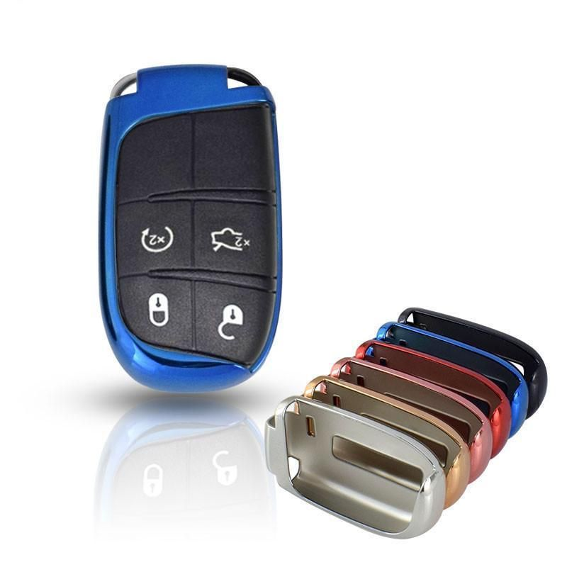 Chrome Car Keyless Entry Smart Key Fob Remote Cover Case Skin Sleeve Jacket For Jeep Dodge Chrysler Smart Key Jeep Cherokee Accessories Jeep