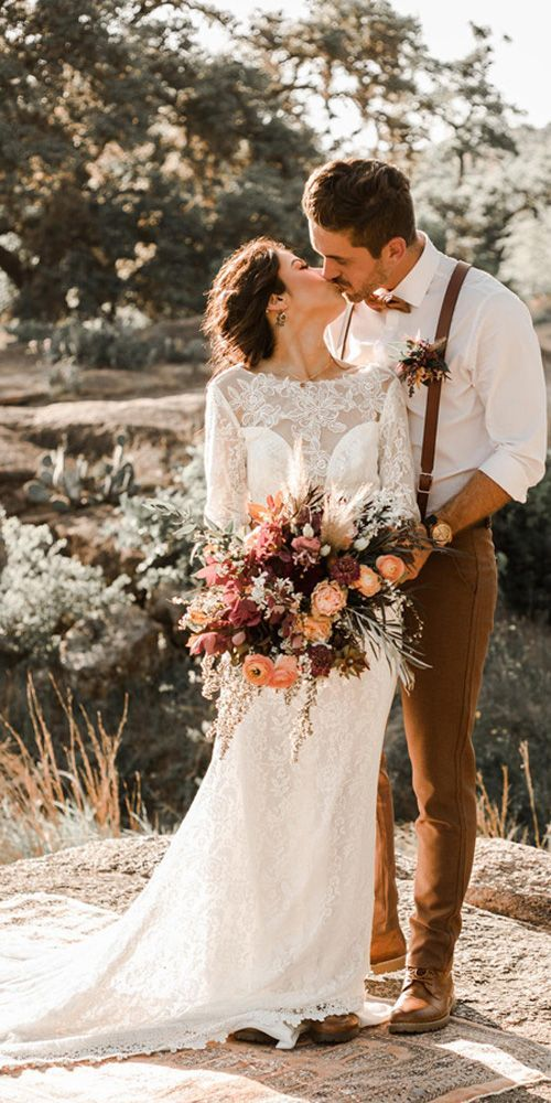 Illusion Ausschnitt Elfenbein Lave Brautkleid mit langen Ärmeln Mantel Brautkleid, MW350 #weddingfall