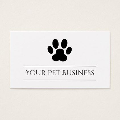 Black And White Pet Paw Print Business Card Unusual Diy Cyo Customize Special Gift