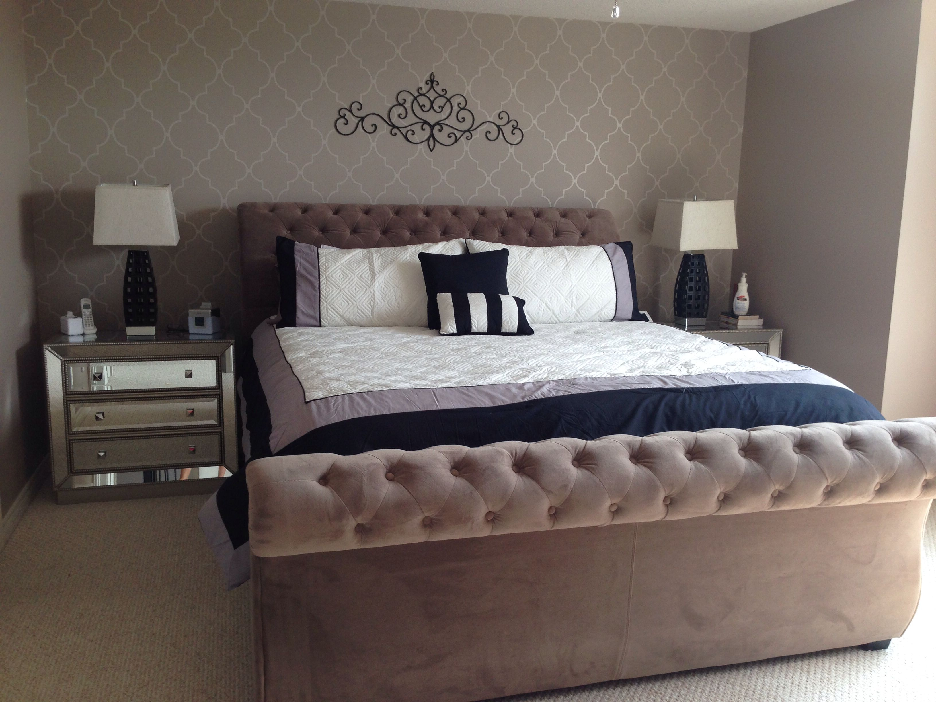 Master Bedroom. Grey, white and black. Wall paper from