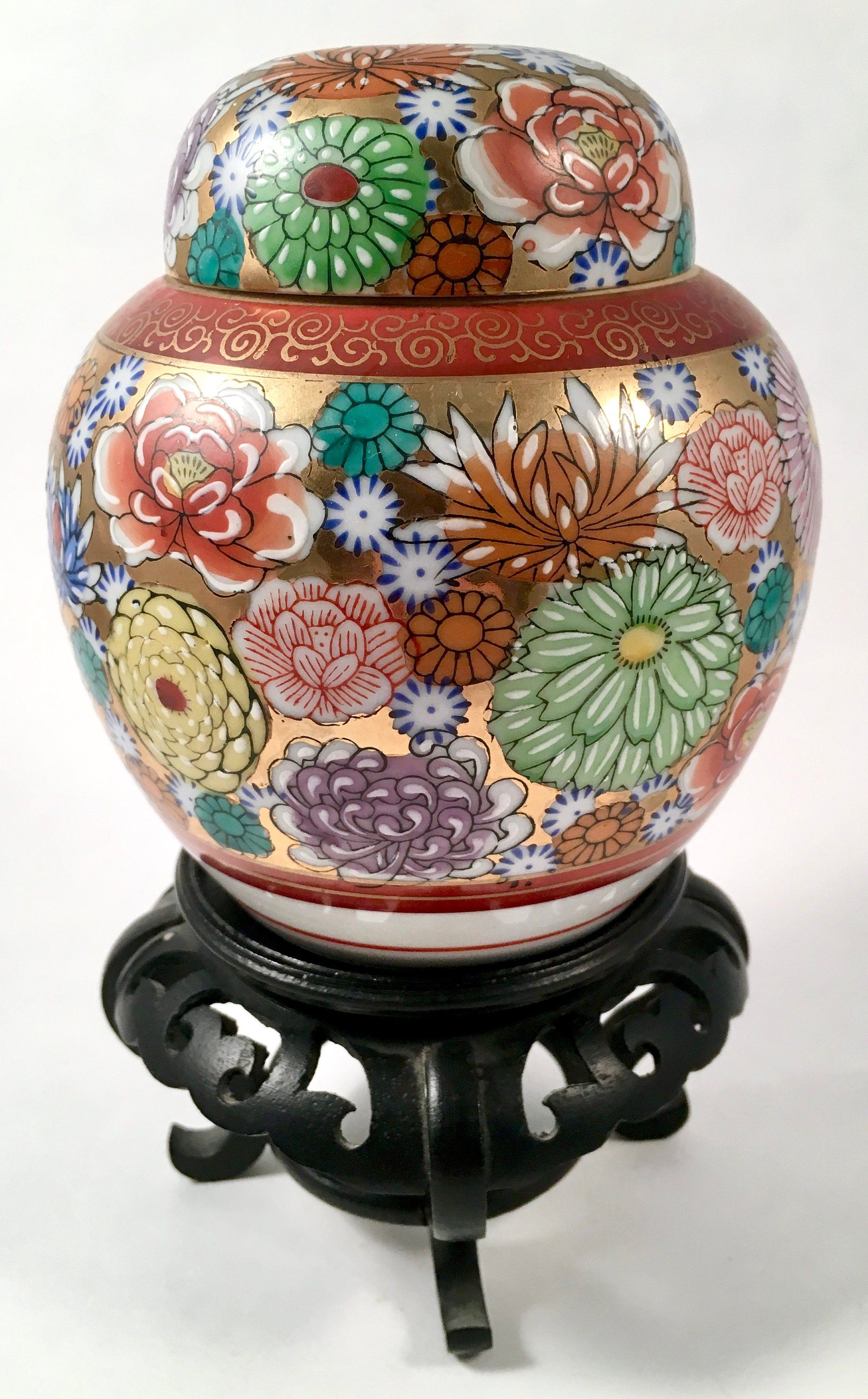 Vintage Japanese Porcelain Ginger Jar Chrysanthemums Gold Red Purple Yellow 7 Inches Tall