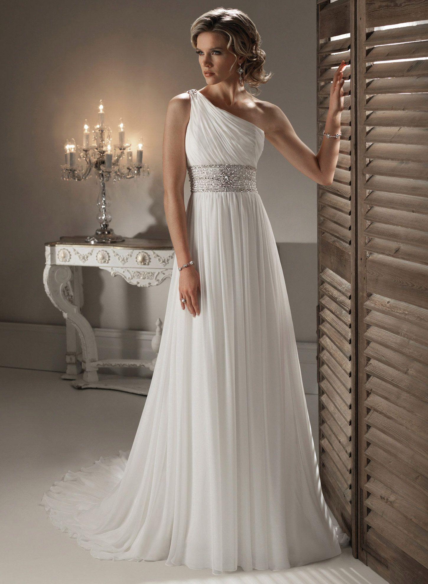 Fashion dress for wedding party  Maggie Sottero Asha One Shoulder Pleat Chiffon Wedding Dress Fashion