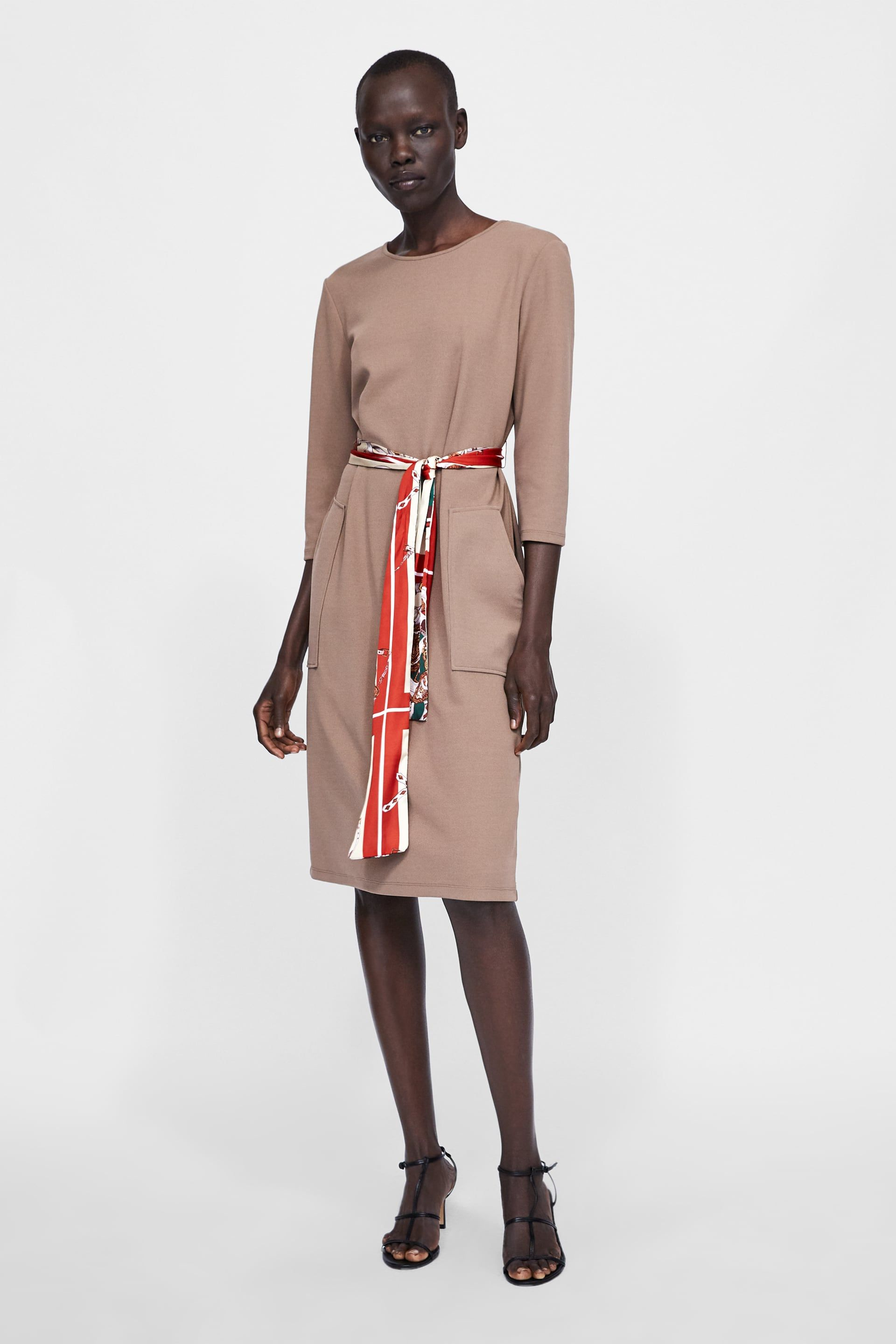 47a4ad103b Image 1 of DRESS WITH PRINTED BELT from Zara