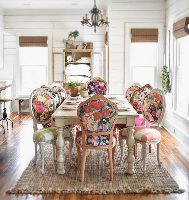Cutest Floral And Checkered Dining Room Chairs Love These Eclectic Chairs So Fun Diningroom D Eclectic Dining Room Dining Room Design Bohemian Dining Room