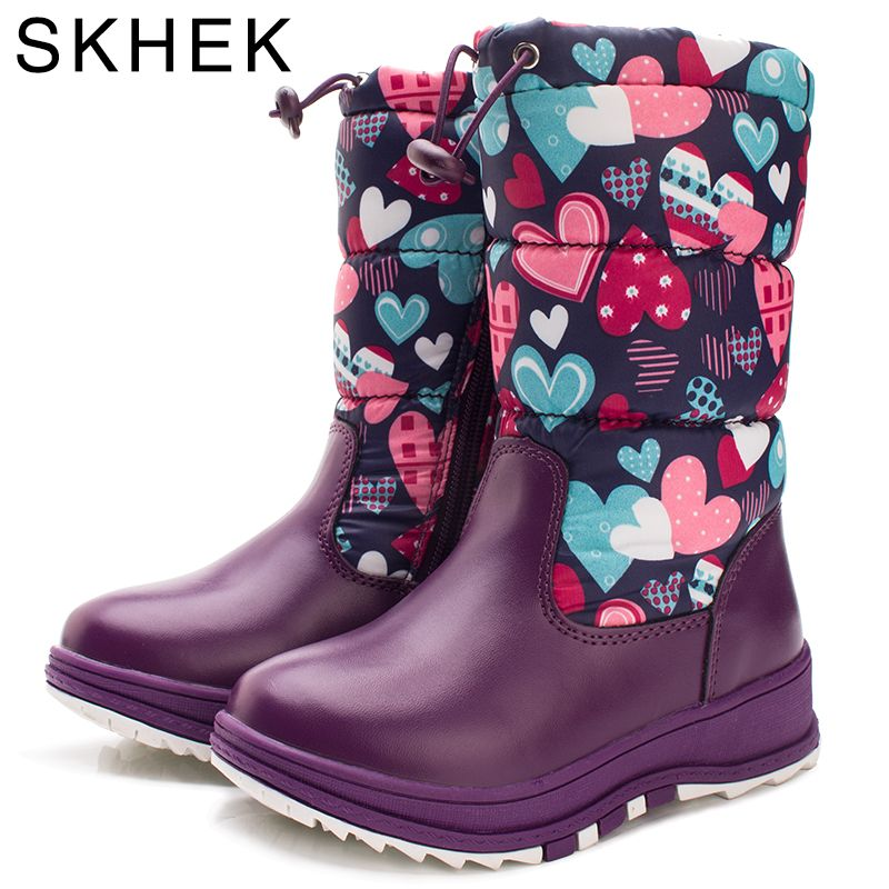 8ae4dbcd64bf2 SKHEK Winter Girl Plush Rubber Boots For Kids Zip Flat With Children ...