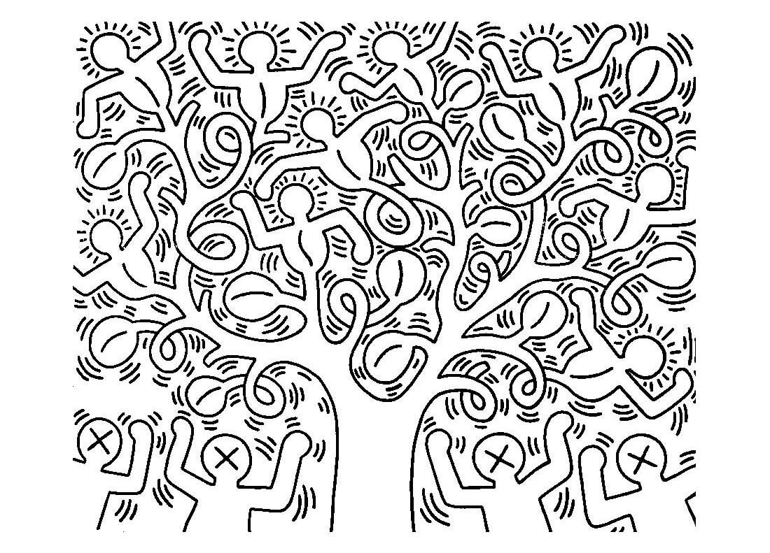 coloring-adult-keith-haring-6.jpg (1100×791) | Coloring pages ...