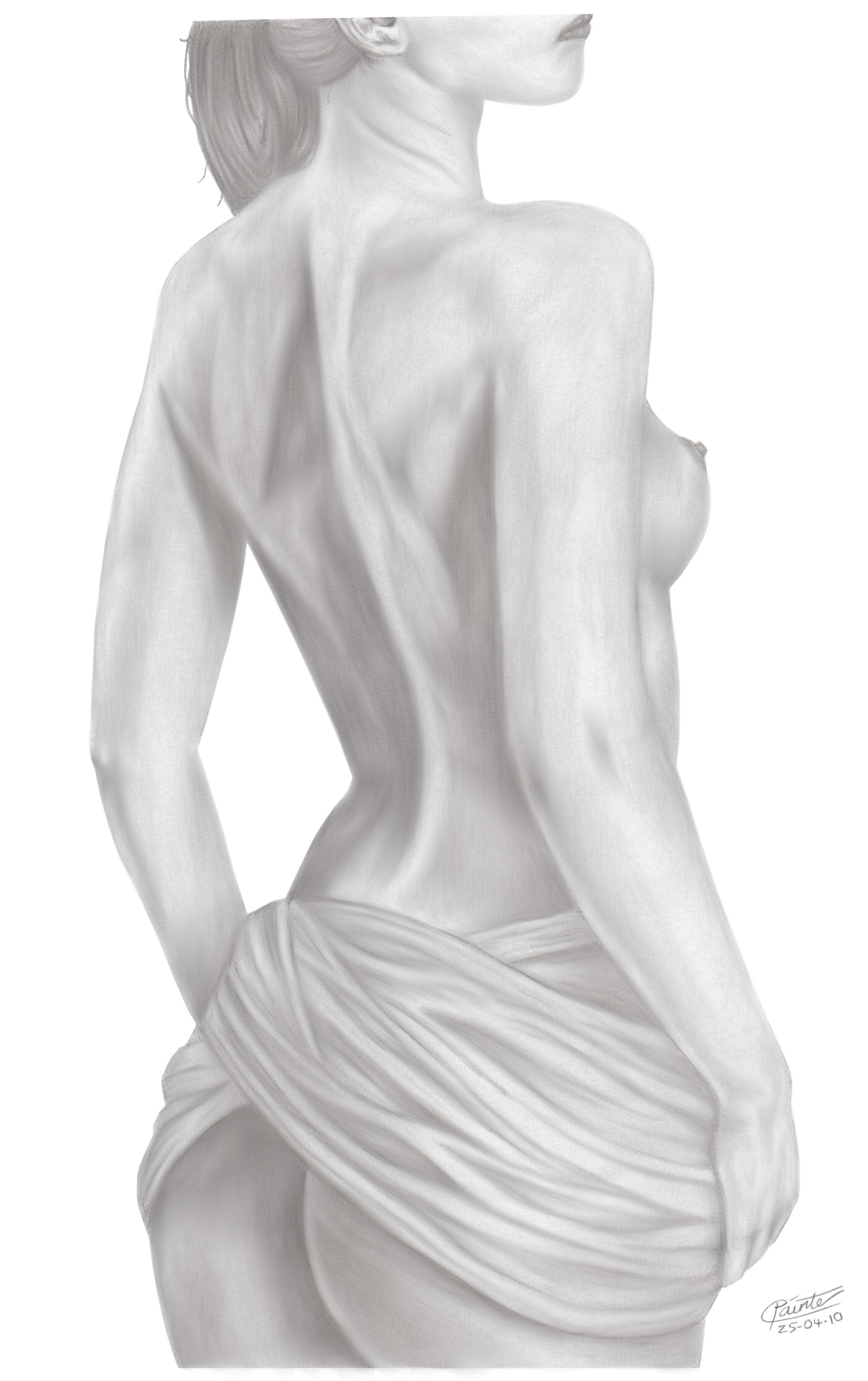 Nude ladies kissing a man