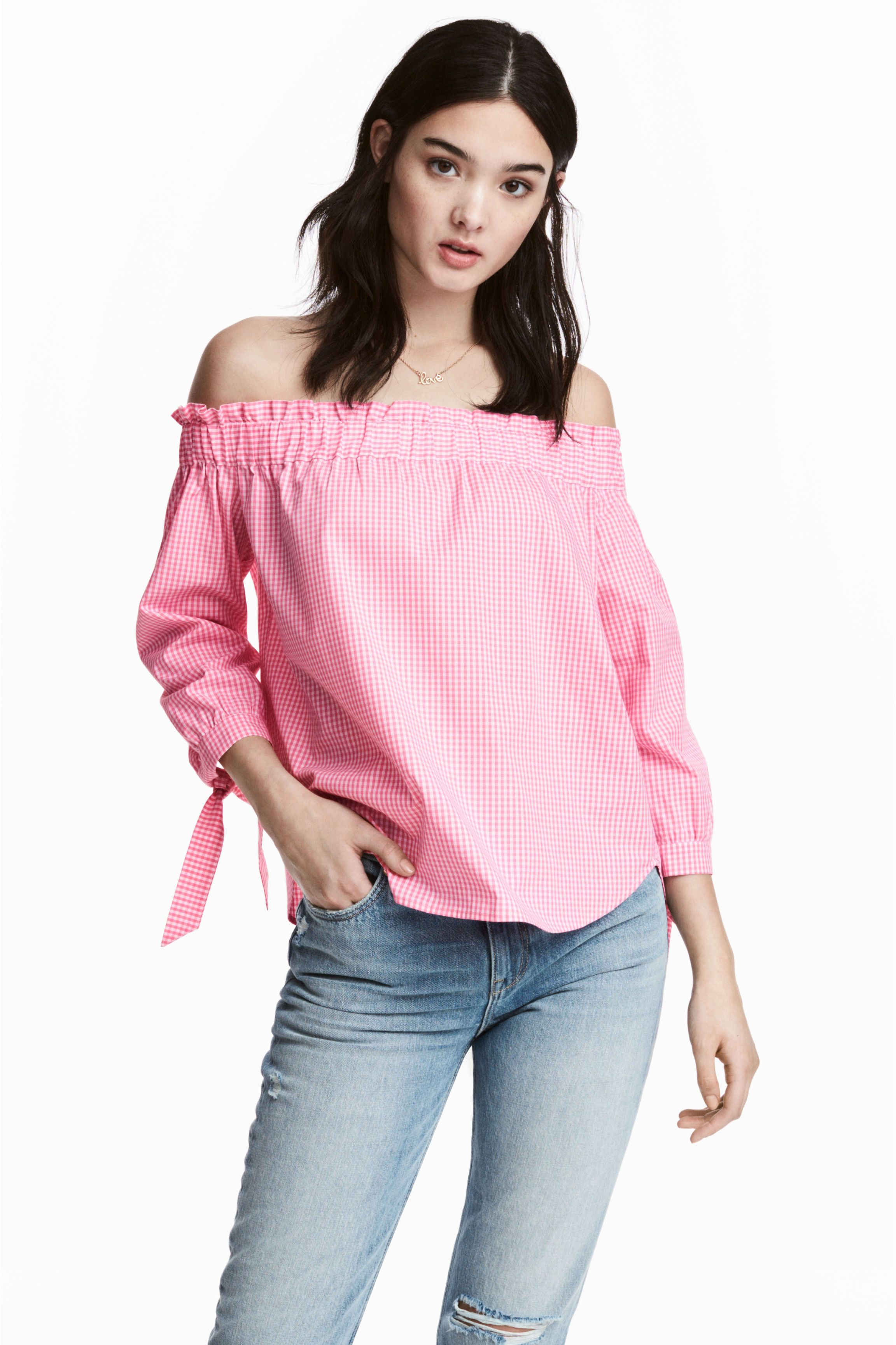 4374b5414e5558 H&M gingham Off-the-shoulder blouse | LC Ladies SS18 - SHIRT | Off ...
