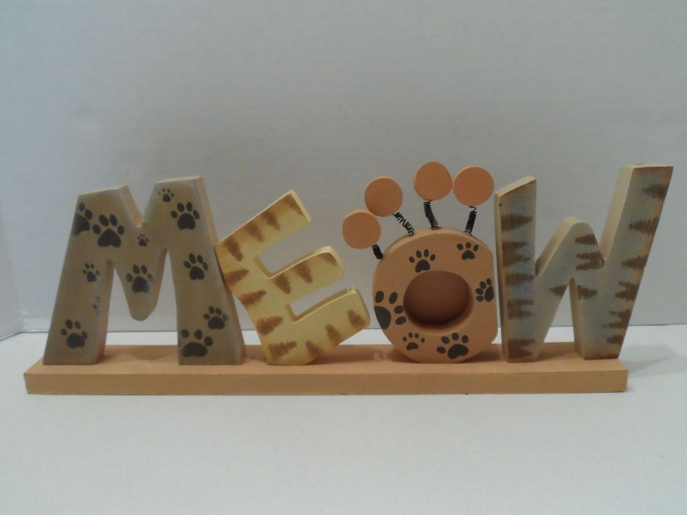 """$27.95/ wood/wooden Picture Frame spells out """"Meow"""" and is a Photo Display for ONE approx. 2"""" x 2"""" picture~  Cat Kitty Kitten Feline Home Decor Accent www.stores.ebay.com/Shellys-Sweet-Finds"""