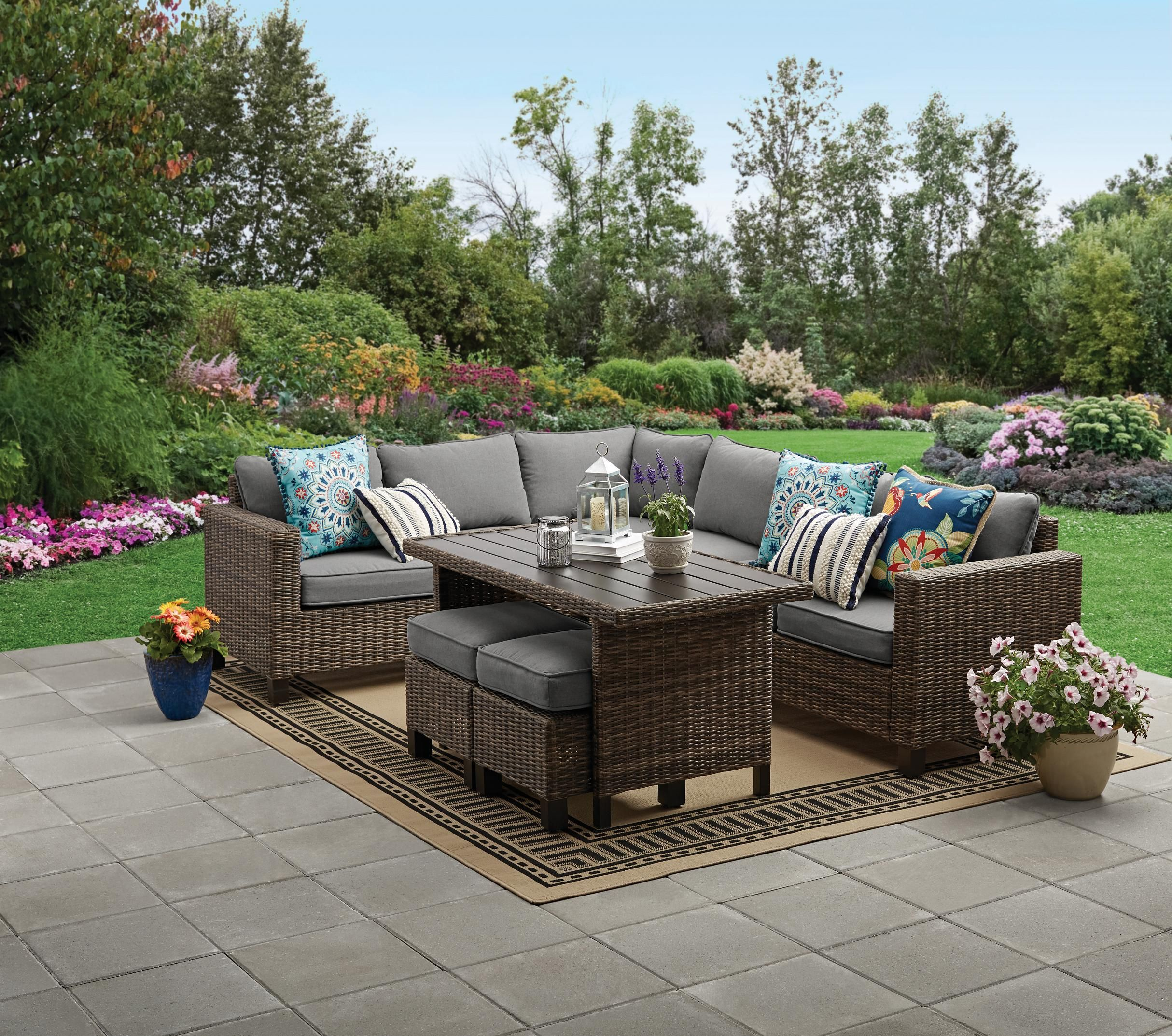 Better Homes Gardens Brookbury 5 Piece Patio Wicker Sectional Set Walmart Com In 2020 Backyard Furniture Outdoor Furniture Sets Outdoor Seating Set