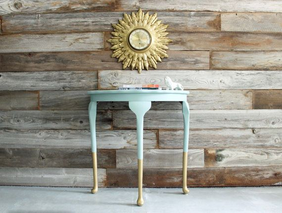 Gold Dipped Queen Anne Demilune Side Table Accent Entry