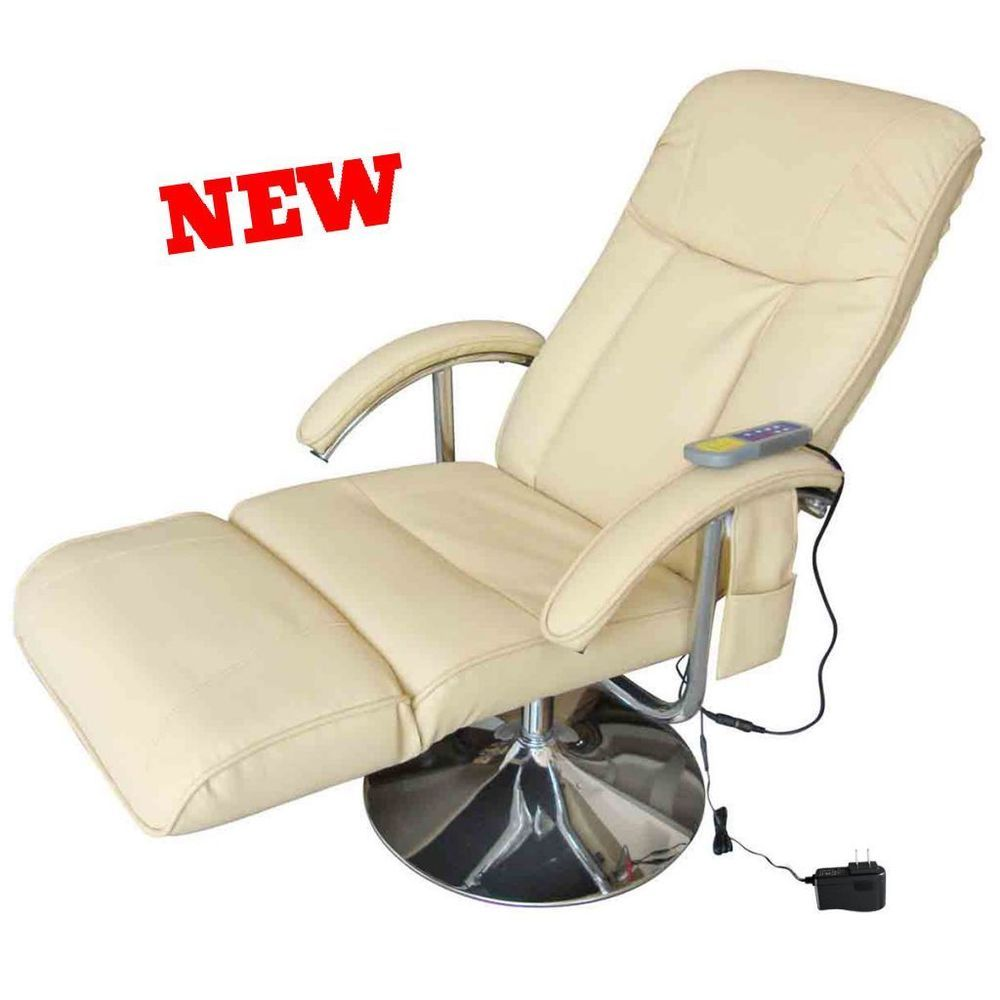 Body Massage Chair Recliner Leather Armchair Foot Stool Electric ...