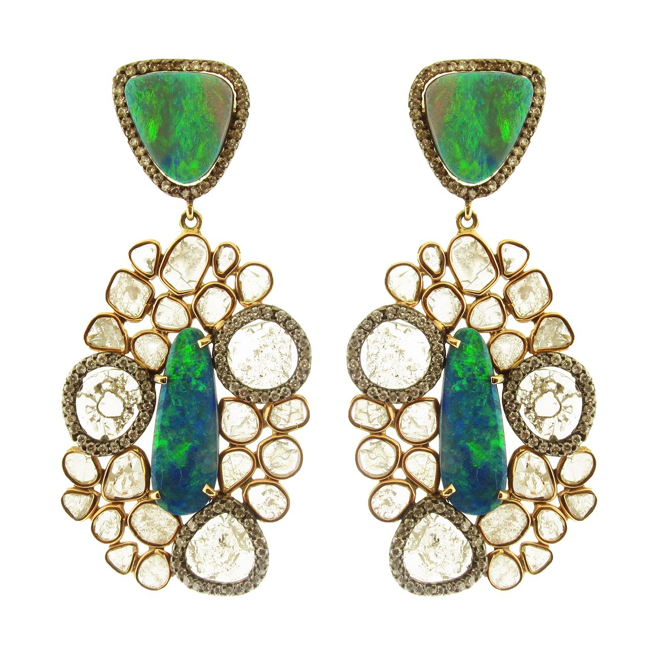 Soho Gem 14K Rose Gold Earrings with Opals and Diamond Slices, $7,725.00