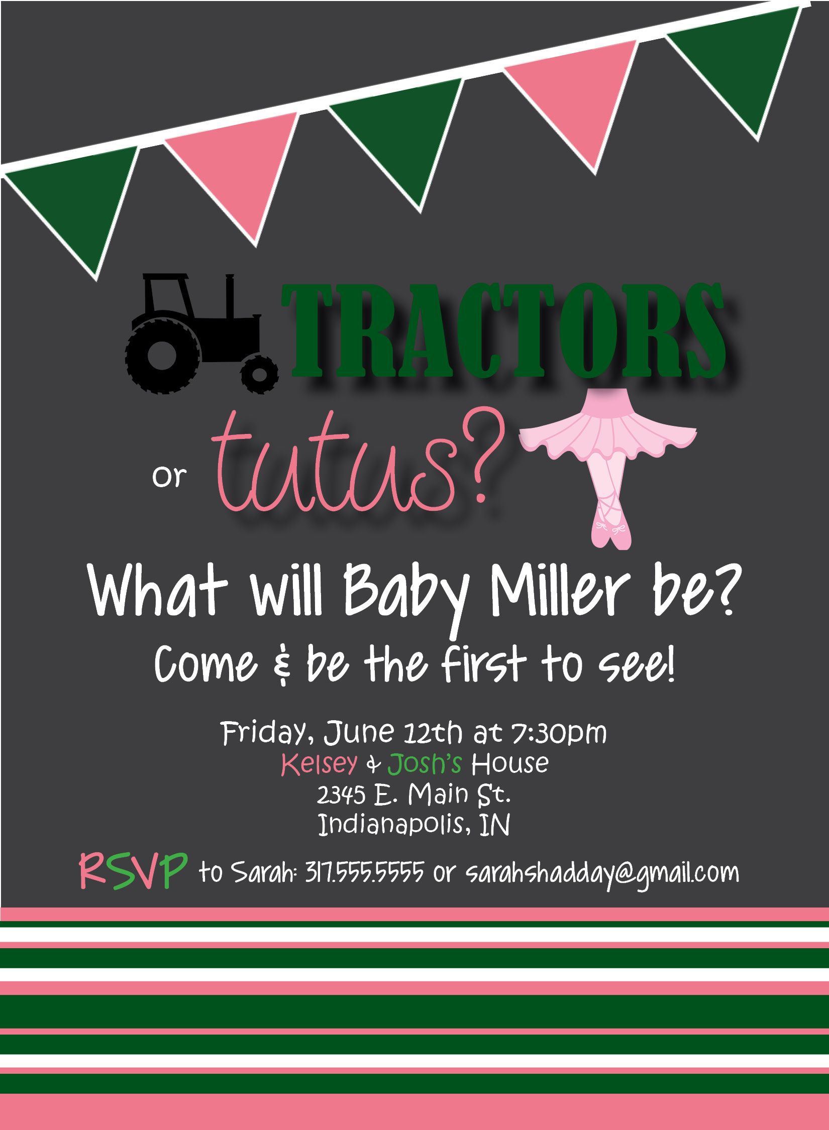 Tractors or Tutus Gender Reveal Party Invitation! Visit ...
