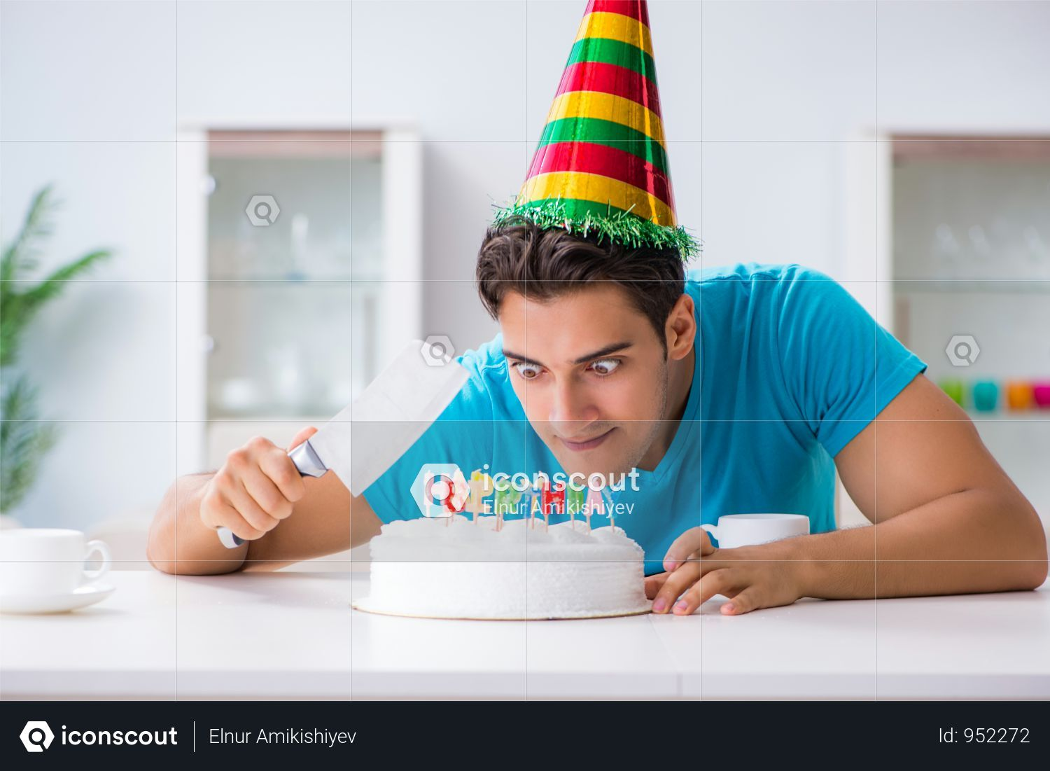 Premium Young Man Celebrating Birthday Alone At Home Photo Download In Png Jpg Format Birthday Cake For Him Birthday Celebration Birthday Dinner Party