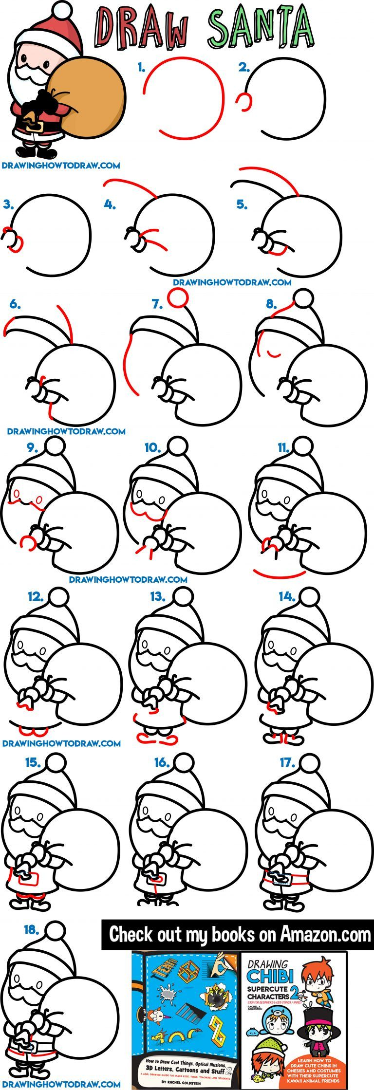 How to Draw a Cute Cartoon Santa Claus Easy Steps Tutorial