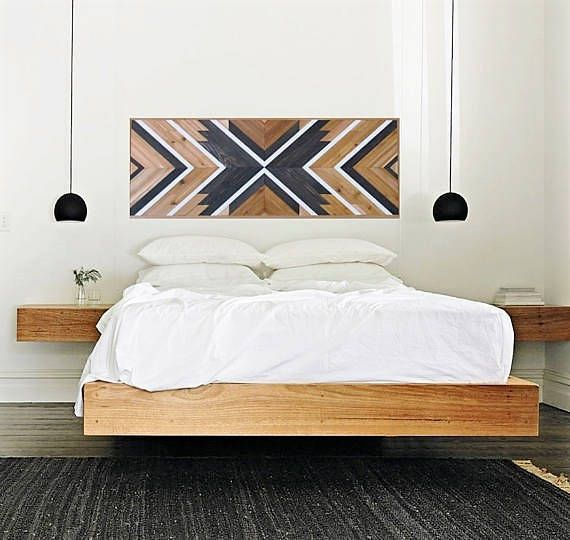 "Reclaimed Wood Wall Art, 60"", Queen Headboard, Boho Decor ..."