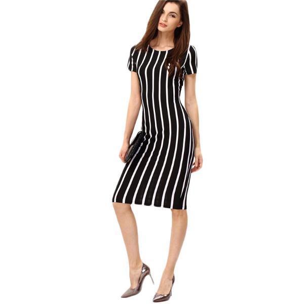 9860d6b047425 Product Description  Buy Women s Formal Black   White Vertical Striped  Short Sleeve Sheath Midi Dress by PesciModa Details  Gender  Women