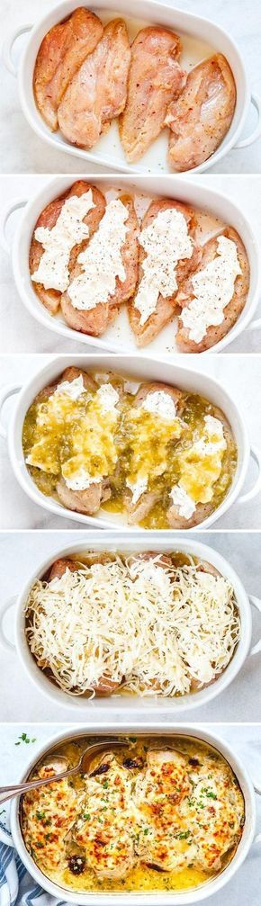Salsa Verde Chicken Casserole with Cream Cheese and Mozzarella