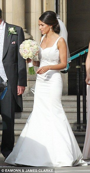 Michelle keegan slips back into a wedding gown to film our for Michelle keegan wedding dress
