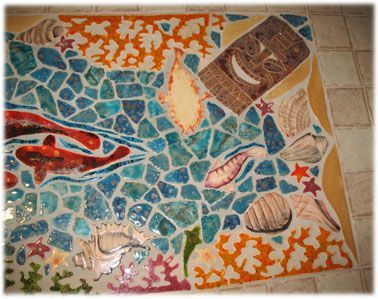 Ceramic tile tropical bar top mosaic and stained glass for Mosaic tile bar top
