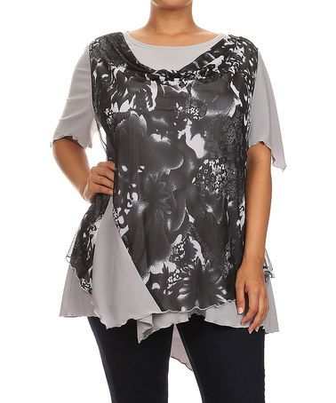 Look what I found on #zulily! Silver Floral Layered Asymmetrical Top - Plus #zulilyfinds