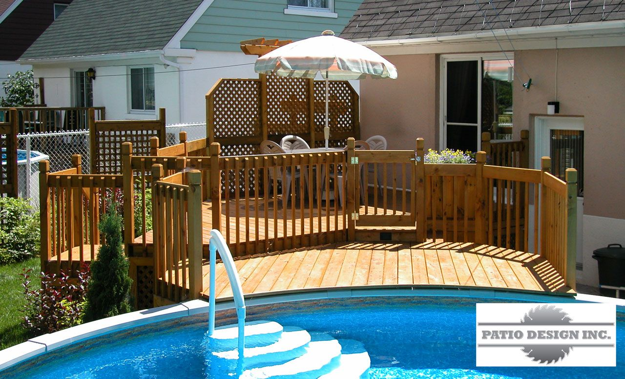 Patio avec piscine hors terre ext rieur pinterest for Modele de galerie et patio