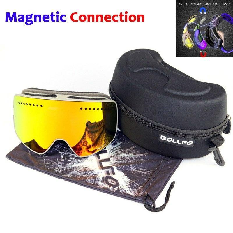 Magnetic Double Lenses Anti-fog UV400 Snowboard Eyewear Glasses Ski Goggles Men