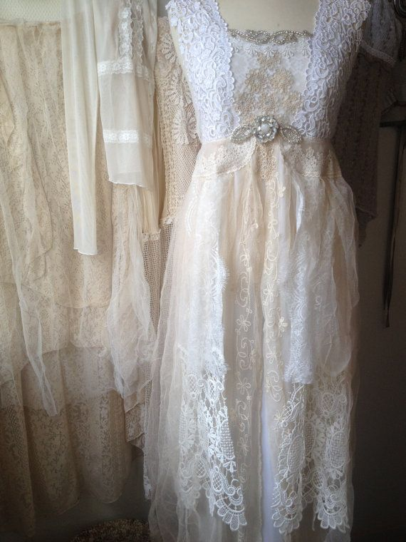 Simple RAW RAGS WEDDING dress cream white fabrics put together in a mix of vintage
