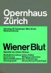 """""""Wiener Blut"""" Poster, Opernhaus Zürich, 128 x 90 cm (50,40"""