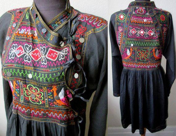 Rare Antique Thar Gipsy ~ Kutch Bangara Rajasthani brodé coton veste tunique Tribal 330,45 €