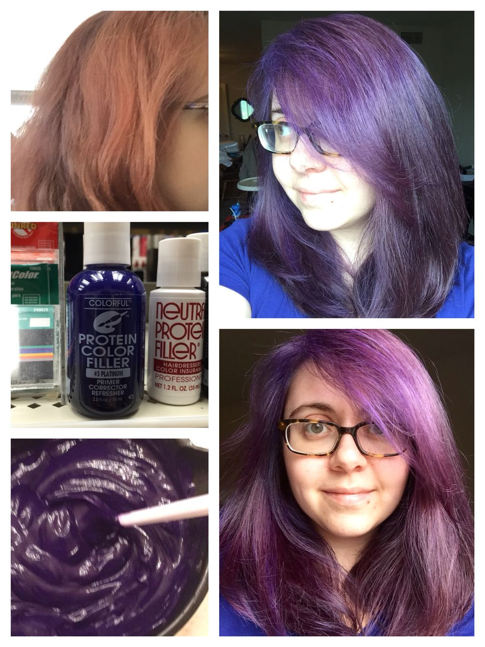 Before Top Left And After Purple Hair Various Lighting