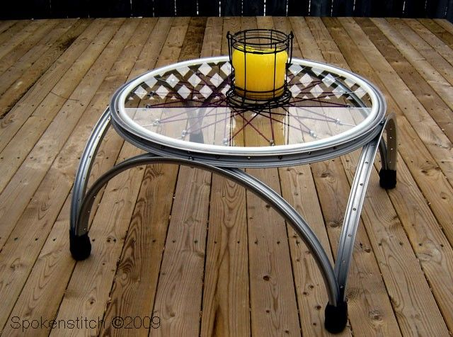Bicycle Wheel Table by SpokenStitch on Etsy. $291.00, via Etsy.