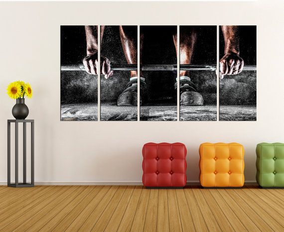 Gym Wall Art Canvas Sports Art Print Crossfit Wall Decor Large ...