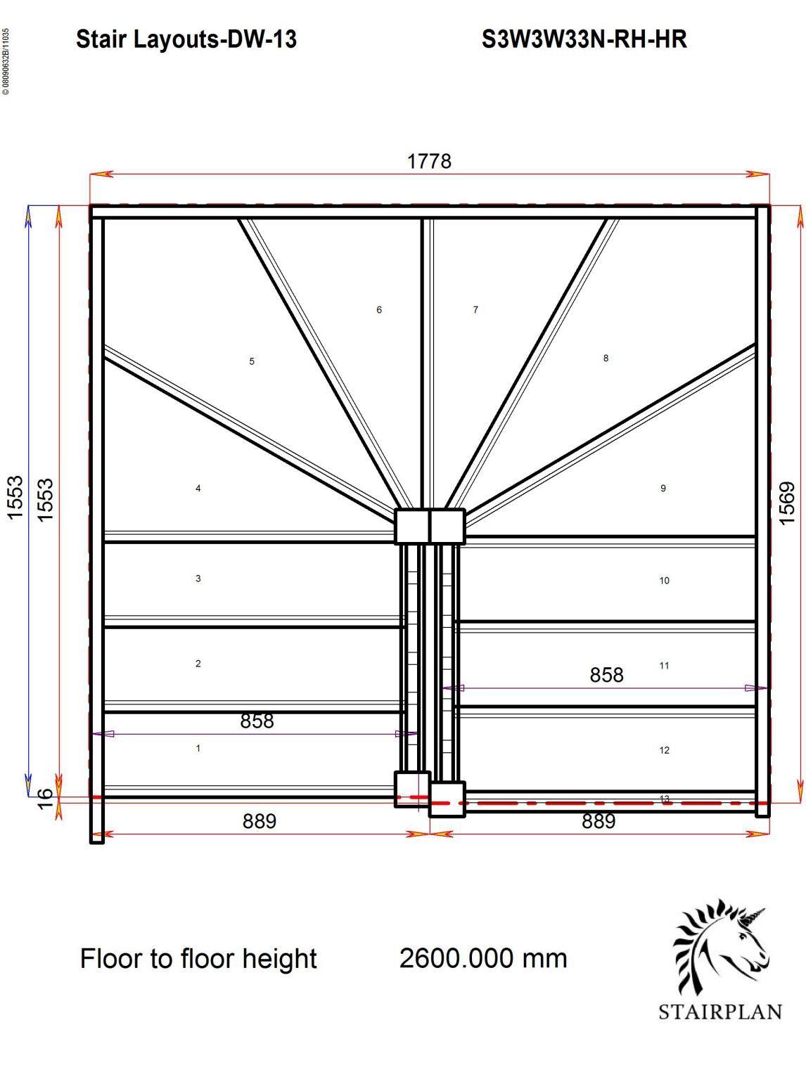 Stair calculator winders - Tradestairs Rh Double Winder Handrail