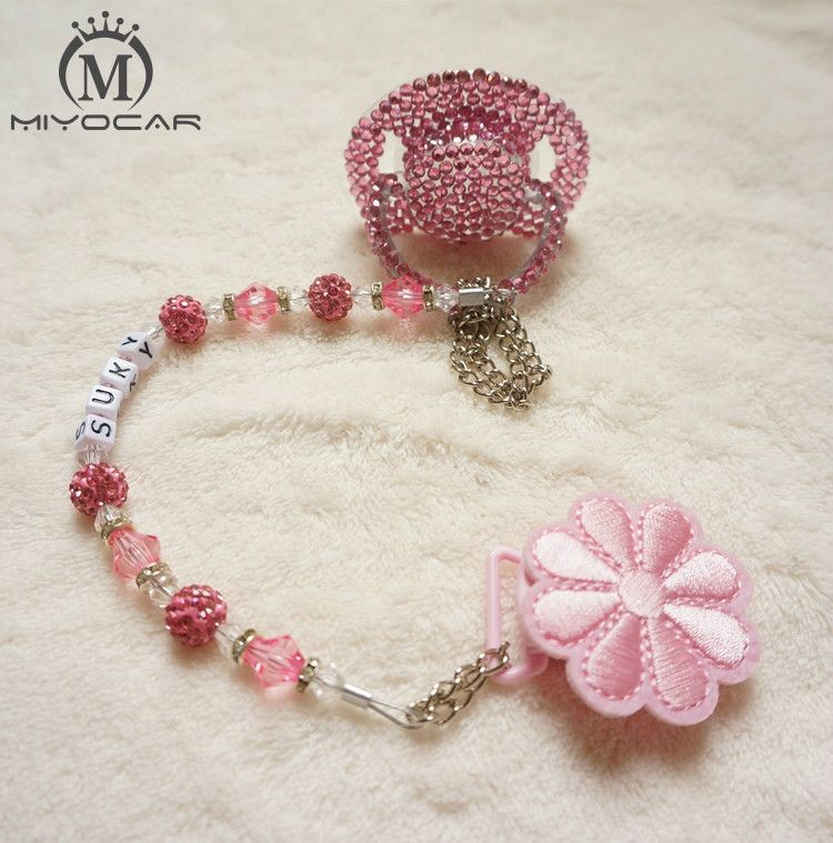 MIYOCAR Special price colorful hand made bling crystal rhinestone Baby  Pacifier  Nipples  Dummy  cocka  chupeta  pacifier clips 9d2e6d36299d