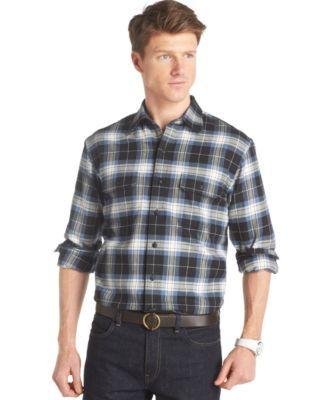 Izod Long-Sleeve Plaid Twill Shirt