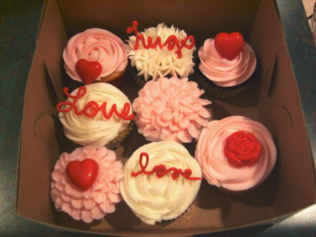 A Few Valentines Cupcakes - Dark chocolate fudge and vanilla cupcakes made for pastor's family.